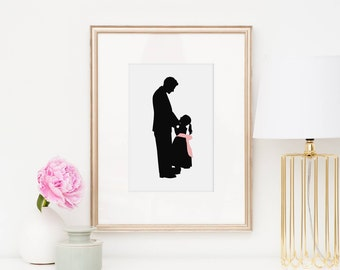Custom Silhouette Family Portrait - gift for Dad or Grandfather - Parent and Child Custom Silhouette - Gift under 25