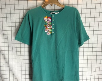Vintage Disney Teal Snow White and the Seven Dwarfs Embroidered Tee