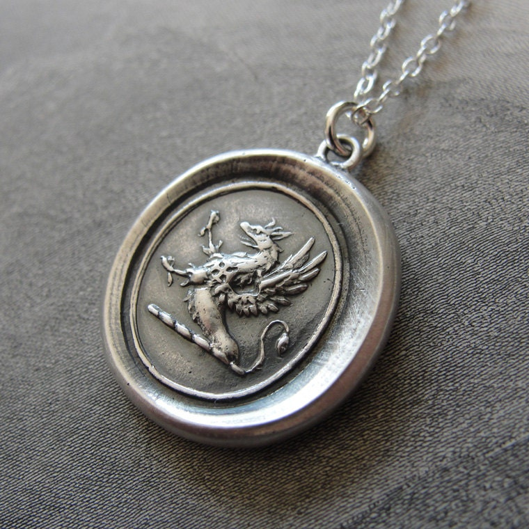 Griffin wax seal necklace strength courage boldness zoom mozeypictures