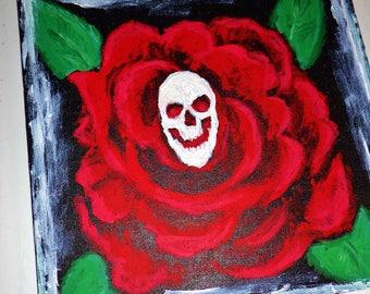 Gothic Skull Rose Painting