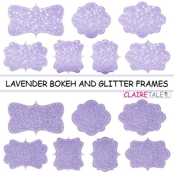 """Digital clipart labels: """"LAVENDER BOKEH & GLITTER frames"""" bokeh and glitter clipart frames, labels, tags on lavender background"""