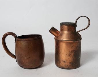 Vintage Copper Mug and Milk Carafe, Copper Mug, Coffee Mug, Tea Mug, Milk Carafe