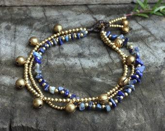 Lapis Lazuli Multi Strand Brass Bell Anklet/Bracelet