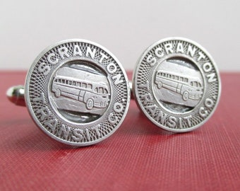 SCRANTON Transit Token Cuff Links - Repurposed Vintage Coins