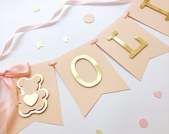 Teddy Bear Girl Happy Birthday Banner Personalized 1st Birthday Decorations Blush Rose Gold Birthday Banner Teddy Bear Baby Shower Banner