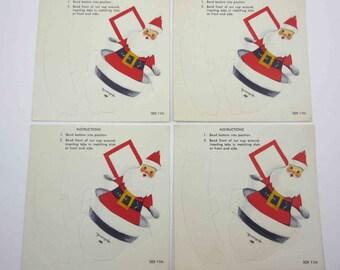 Vintage Unused Dimensional Christmas Santa Nut Cup Set of 4 by Hallmark