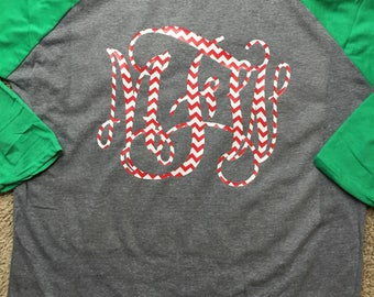 Christmas Monogram Raglan Shirt with Chevron, Glitter, or Smooth Vinyl