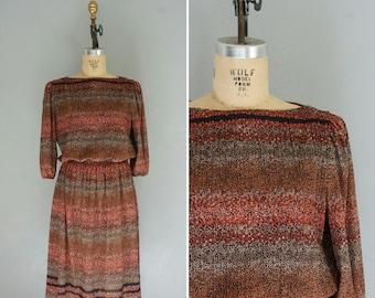 SALE 1970s Fall Leaves dress | vintage 70s dress