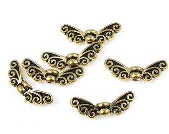 Antique Gold Beads - TierraCast Large FAIRY WING Beads - Gold Wing Beads - Angel Wing Beads (P1203)