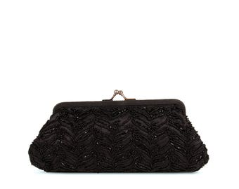 Black lace and beaded minaudiere