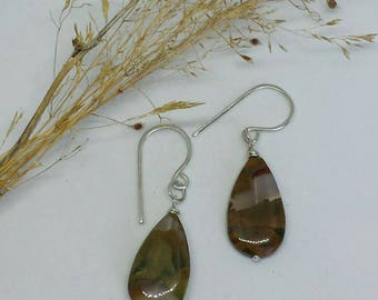 Rainforest Jasper Drops with Sterling Silver fittings and Earwires