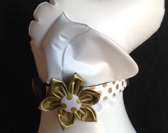 Dog collar flower set - White And Gold Polka Dot Adjustable Dog Collar- size XS, S, M, L, XL
