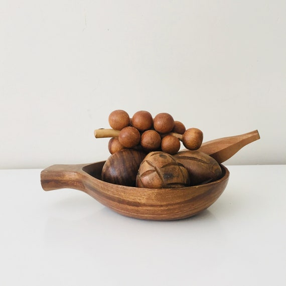 Vintage Wood Bowl Mid Century Fruit Bowl Carved Wooden Fruit Made in Philippines Boho Decor