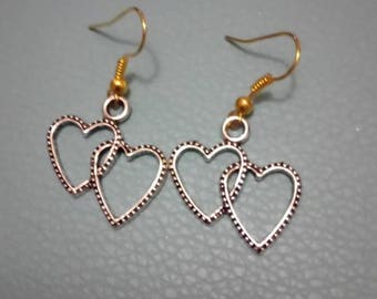Twin heart earrings