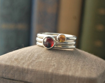 Stacking Rings - Garnet Ring - Citrine Ring - Silver Stacking Ring - Sterling Silver Stacking Ring - stackable mothers ring