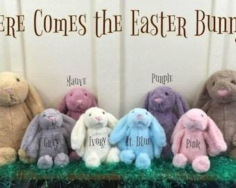 Girls easter gift etsy monogrammed easter bunny easter basket gift pink easter bunny girl easter gift negle Images