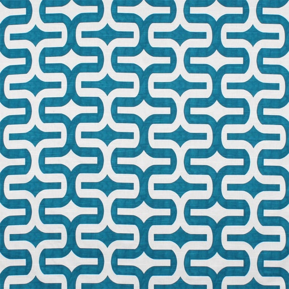 Drapery Fabric Upholstery Fabric Turqu Teal Geometric