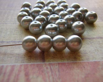 Silver Pearl Beads 8mm Round Druk Smooth Czech Glass 20 Beads