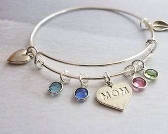 Family Tree birthstone Bracelet, Personalized gift for mom, Mothers day gift from daughter, mom gift mom, Mom bracelet, day jewelry, son