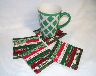Christmas Fabric Coasters, Set of 4, Red and Green, Quilted, Reversible, Holiday Mug Rug