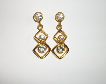 vintage pair of pierced Rhinestone dangle earrings