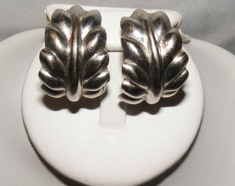 Monet Silver Tone Leaf Clip on Earrings