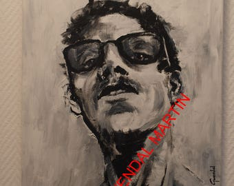 portrait painting man with glasses 45 cm x 38 cm titles involved Martin original work signed