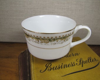 Signature Collection - Queen Anne - Coffee Cup - Green and Tan Pattern - Gold Accent
