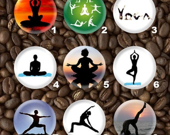 9 Yoga Pin Plastic or Metal Flat back Button Set - Wholesale Pricing