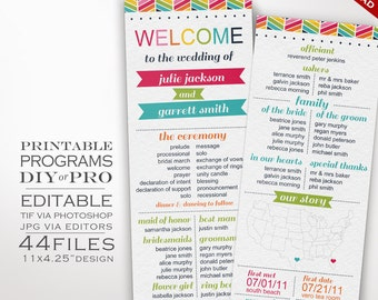 Wedding Program Template - Rainbow Wedding Program - Printable DIY Rainbow Chevron Wedding Invitation Editable Bright Wedding Invite