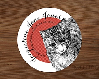 Personalized Return Address Labels with Color Options: Cat Script