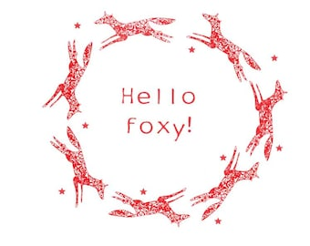 Fox red print, giclee Illustration print, Red Foxes Poster print, Typography, Hello foxy