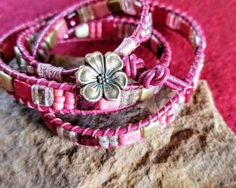 Magenta Triple Wrap Bracelet