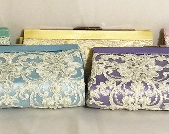 Customize Your Own Wedding Bridesmaid Clutch Purse Bag Lace over Satin