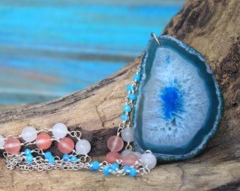 30% OFF-Under the Sea Mermaid Necklace - Blue Onyx Druzy Agate Beaded Necklace - Mermaid Jewelry - Statement Jewelry - Coastal Jewelry -OOAK