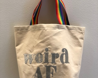 Large Natural Canvas Tote\WeirdAF