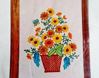 "Vintage WonderArt DAISY BASKET Crewel Embroidery Kit Yellow Orange Brown Flowers 11"" x 14"""