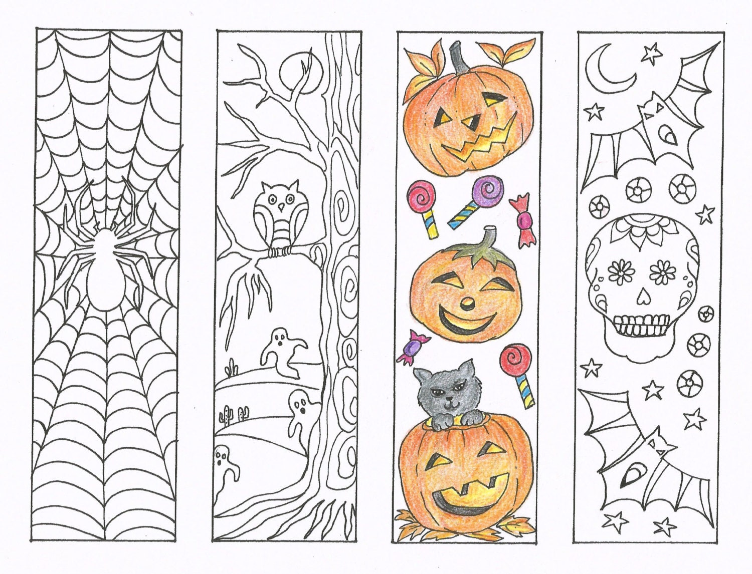 Coloring Bookmarks - Halloween coloring bookmarks - PDF Download ...