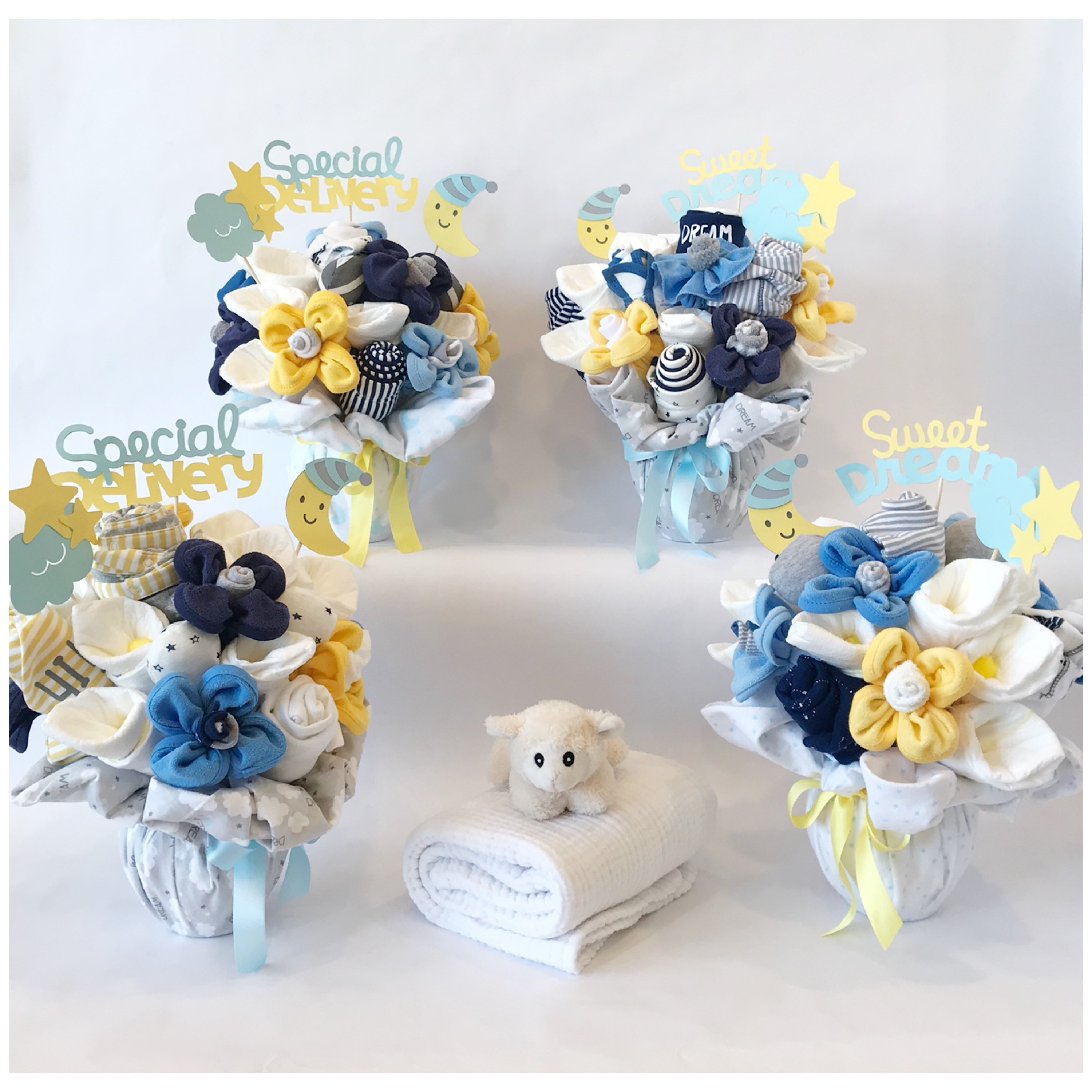Dream Big Baby Shower Centerpeice Clothing Bouquets - Baby Shower ...