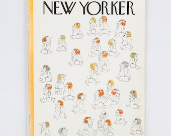 The New Yorker Magazine, Entire Publication Sept 22, 1975. White, Orange, Yellow, Black, Men with briefcases and football helmets. Average.