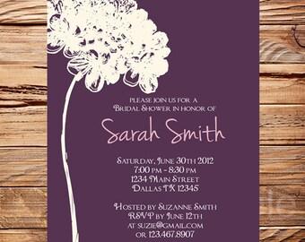 Bridal Shower Invitation purple, bridal shower invitation hydrangea, Wedding invitation, Purple, baby shower invitation printable, 5104