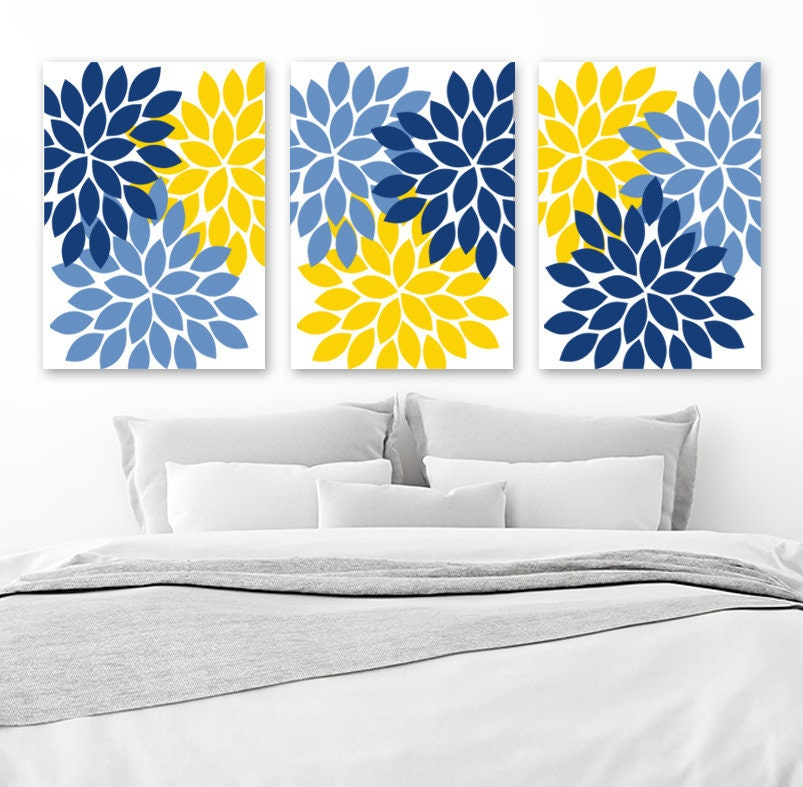 Flower Wall Art Canvas Or Print Kitchen Wall Art Bedroom: Flower Wall Art Navy Blue Yellow Bedroom Canvas Or Print