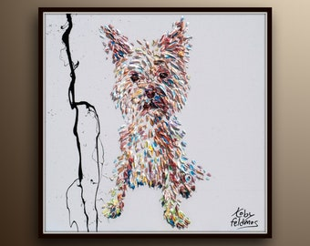 """Dog painting 25"""" custom order dog painting & custom size , beautiful thick oil paint layers, original painting on canvas by Koby Feldmos"""