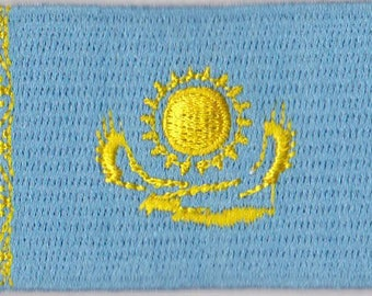 Small Kazakhstan Flag Iron On Patch 2.5 x 1.5 inch Free Shipping