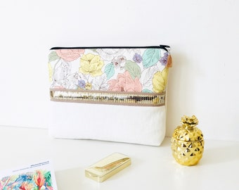 Evening clutch, organic cotton pouch, clutch wedding clutch, personalized, sequins, fabric flowers