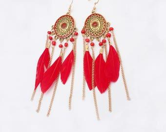 Long Tribal Feather Earrings - Boho Feather Jewelry - Festival Jewelry - Long Bohemian Earrings - Feather Tribal Earrings - Hippie Earrings