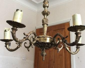 Antique  brass chandelier, ceiling light.