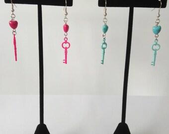Neon Key earrings
