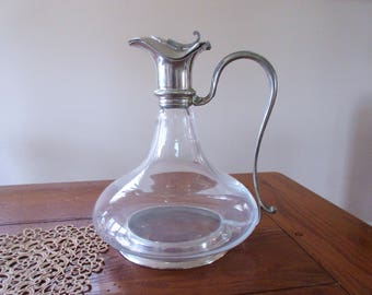 Antique Glass  and Silver Plated Claret Jug  Water Pitcher  Wine Decanter Vintage Carafe
