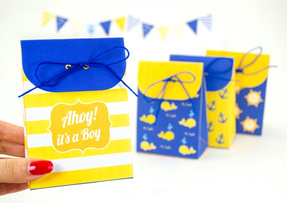 Baby Shower Favors Bags ~ Nautical boy s baby shower favor bags printable pdf gift